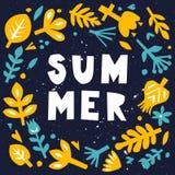 Cartão de verão Abstraia o fundo floral Cartão ou cartaz com elementos florais de papel Entalhe floral Imagens de Stock Royalty Free
