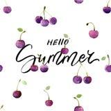 Cartão de verão com as cerejas tiradas mão da rotulação e da aquarela - olá! verão ilustração do vetor