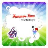Cartão de verão do cumprimento com frame redondo Fotos de Stock Royalty Free