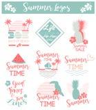 Cartão de verão/grupo do fundo de logotipos para vendas Fotografia de Stock Royalty Free