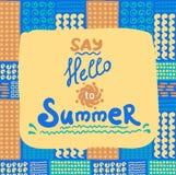 Cartão de verão Teste padrão sem emenda Doodles desenhados mão Foto de Stock