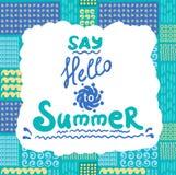 Cartão de verão Teste padrão sem emenda Doodles desenhados mão Fotografia de Stock Royalty Free
