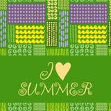 Cartão de verão Teste padrão sem emenda Doodles desenhados mão Foto de Stock Royalty Free