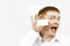 Cartão de visita da mostra do homem de negócios Fotografia de Stock
