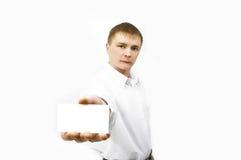 Cartão de visita da mostra do homem de negócios Imagem de Stock