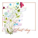Cartão decorado com um ramalhete fotos de stock