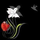Cartão decorativo com flores ilustração royalty free