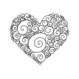 Cartão decorativo do ` s de StValentine com esboço colorido do coração da garatuja do zentangle Coração ondulado tribal étnico do Imagens de Stock