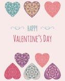 Cartão decorativo do Valentim com corações ornamentado florais Fotografia de Stock Royalty Free