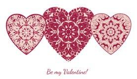 Cartão decorativo do Valentim com corações ornamentado florais Imagens de Stock