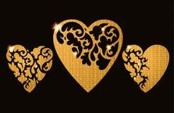 Cartão decorativo do Valentim com corações ornamentado florais Foto de Stock