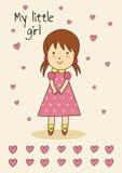 Cartão desenhado à mão bonito para o aniversário ou a festa do bebê com uma menina Fotos de Stock Royalty Free