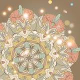 Cartão desenhado à mão do ornamento do laço do círculo Imagem de Stock Royalty Free