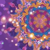 Cartão desenhado à mão do ornamento do laço do círculo Imagens de Stock Royalty Free