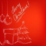 Cartão desenhado mão do Natal com fundo vermelho ilustração royalty free