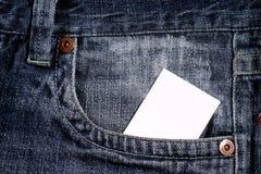Cartão desobstruído branco no bolso imagem de stock