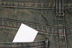 Cartão desobstruído no bolso imagem de stock