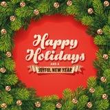 Cartão detalhado da grinalda dos feriados Imagens de Stock