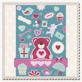 Cartão do álbum de recortes do dia de Valentim Imagens de Stock