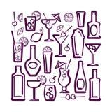 Cartão do álcool do cocktail Imagens de Stock Royalty Free