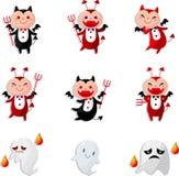 Cartão do ícone do diabo dos desenhos animados ilustração do vetor