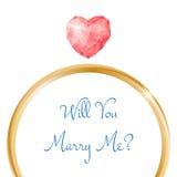 Cartão do acoplamento do vetor Você casar-me-á anel com o diamante dado forma coração Imagens de Stock Royalty Free