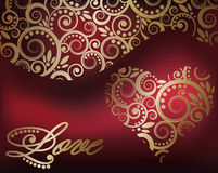 Cartão do amor com coração dourado Fotos de Stock Royalty Free