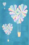 Cartão do amor Coração abstrato fundo dado forma dos balões de ar quente Fotografia de Stock Royalty Free