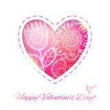 Cartão do amor do coração com flor. A ilustração do vetor, pode ser usada como Imagem de Stock