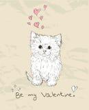 Cartão do amor do vintage com gatinho. Ilustração Royalty Free
