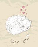 Cartão do amor do vintage com gatinho. Ilustração do Vetor
