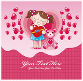 Cartão do amor dos desenhos animados Fotos de Stock Royalty Free
