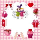 Cartão do amor dos desenhos animados Foto de Stock Royalty Free