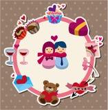 Cartão do amor dos desenhos animados Fotografia de Stock