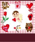 Cartão do amor dos desenhos animados Imagens de Stock Royalty Free