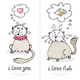 Cartão do amor dos gatos Imagens de Stock