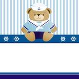 Cartão do anúncio da chegada do bebé do marinheiro Foto de Stock Royalty Free