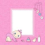 Cartão do anúncio do bebé. ilustração do vetor