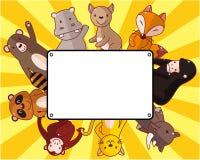 Cartão do animal dos animais selvagens dos desenhos animados Imagem de Stock