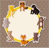 Cartão do animal dos animais selvagens dos desenhos animados Fotografia de Stock Royalty Free