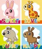 Cartão do animal dos desenhos animados Imagens de Stock