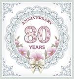 Cartão do aniversário 80 anos Fotografia de Stock Royalty Free