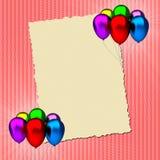 Cartão do aniversário com balões coloridos Fotografia de Stock Royalty Free