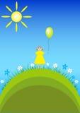 Cartão do aniversário com a menina com balão Fotografia de Stock