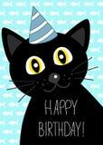 Cartão do aniversário com o gato preto bonito ilustração royalty free