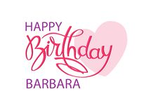 Cartão do aniversário com o nome Barbara Rotula??o elegante da m?o e um cora??o cor-de-rosa grande Elemento isolado do projeto ilustração royalty free