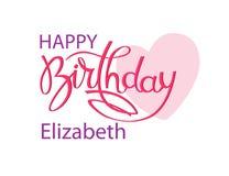 Cartão do aniversário com o nome Elizabeth Rotula??o elegante da m?o e um cora??o cor-de-rosa grande Elemento isolado do projeto ilustração stock