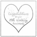 Cartão do aniversário de casamento de prata do coração foto de stock royalty free