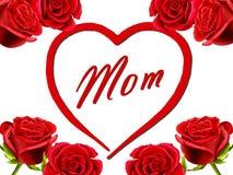 Cartão do aniversário ou do dia de matriz à mamã com rosas Foto de Stock