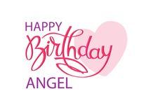 Cartão do aniversário para o anjo Rotulação elegante da mão e um coração cor-de-rosa grande Elemento isolado do projeto ilustração stock